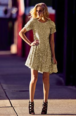 la mode charlie borwn gold sequin dress