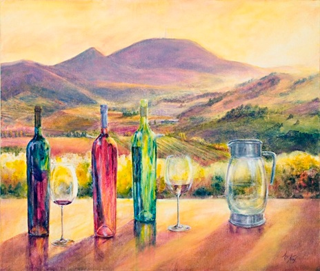 "Angela Naef ""Mount Canobolas and wine""  Acrylic"