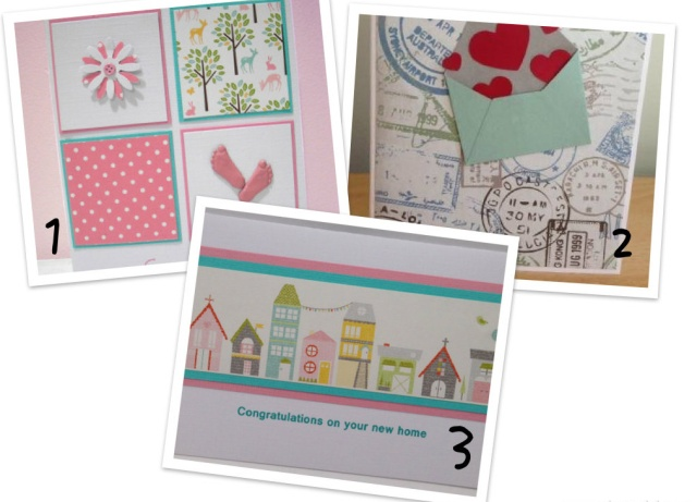 Some of the beautiful cards from The Button Jar 1. 'Little pink toes' 2. 'Love from home' 3. 'Neighbourhood'