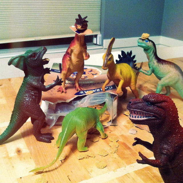 'Look honey, the dinosaurs ate cereal last night'