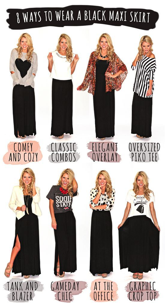 life hack friday 8 ways to wear a black maxi skirt the