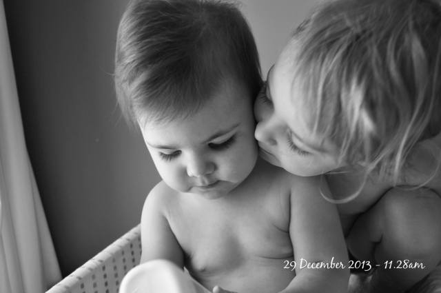 29 December 2013: Some moments are just absolute bliss. A perfect instant that shows actual true love. This is that moment. A quiet time, a peaceful time. Two best friends together in their own private moment - enjoyed and captured by their very proud mummy.